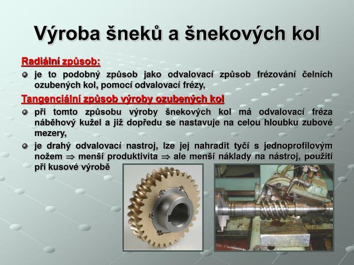 Výroba šneků a šnekových kol