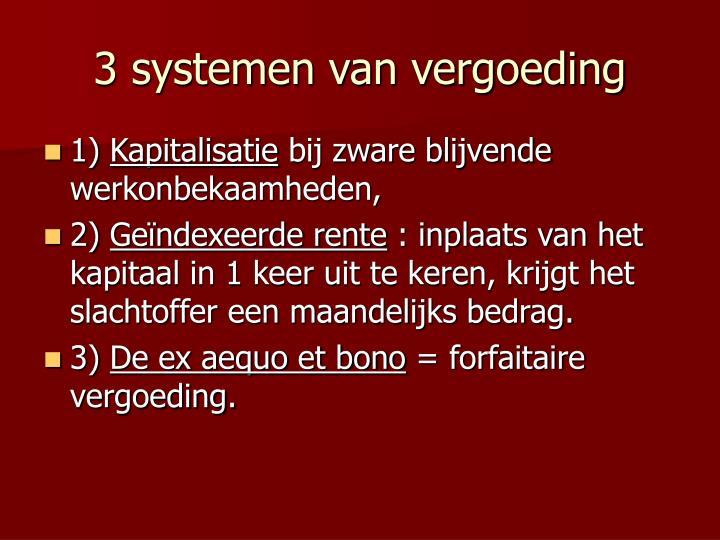 3 systemen van vergoeding