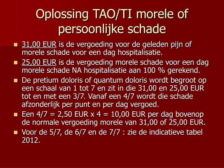 Oplossing TAO/TI morele of persoonlijke schade