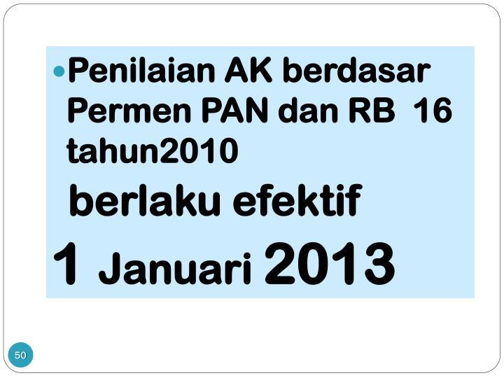 Penilaian AK berdasar Permen PAN dan RB  16 tahun2010