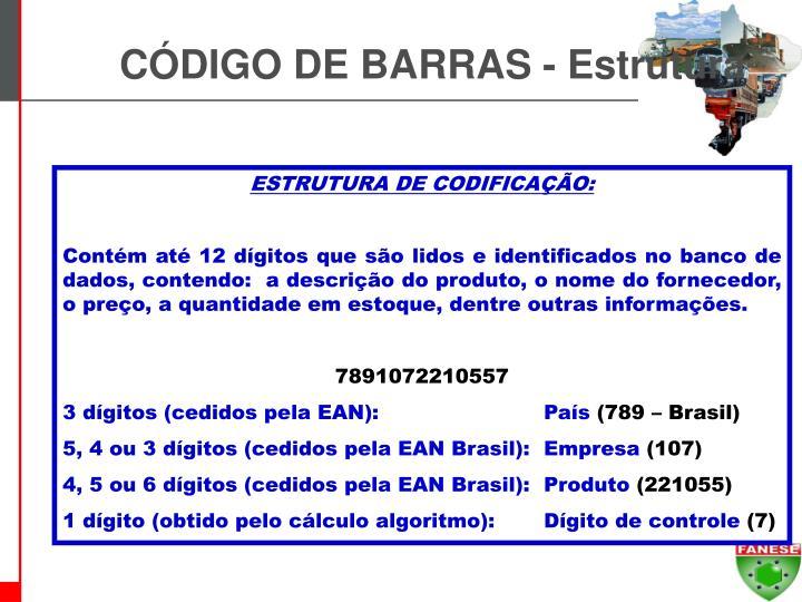 CÓDIGO DE BARRAS - Estrutura