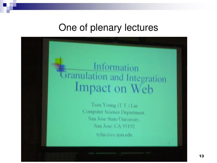 One of plenary lectures