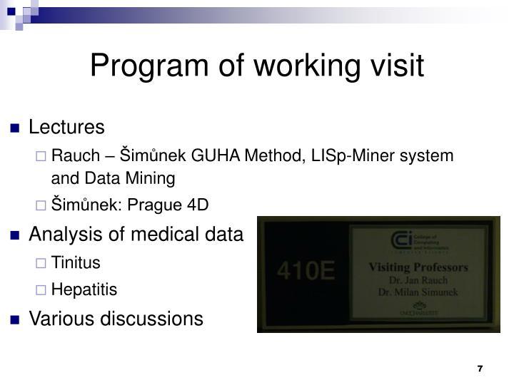 Program of working visit
