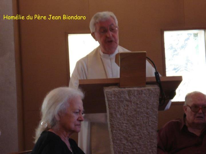 Homélie du Père Jean Biondaro