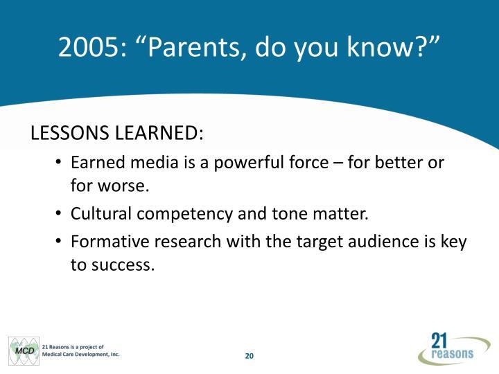 """2005: """"Parents, do you know?"""""""