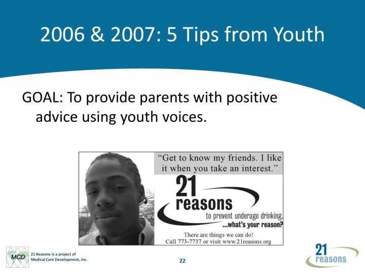 2006 & 2007: 5 Tips from Youth