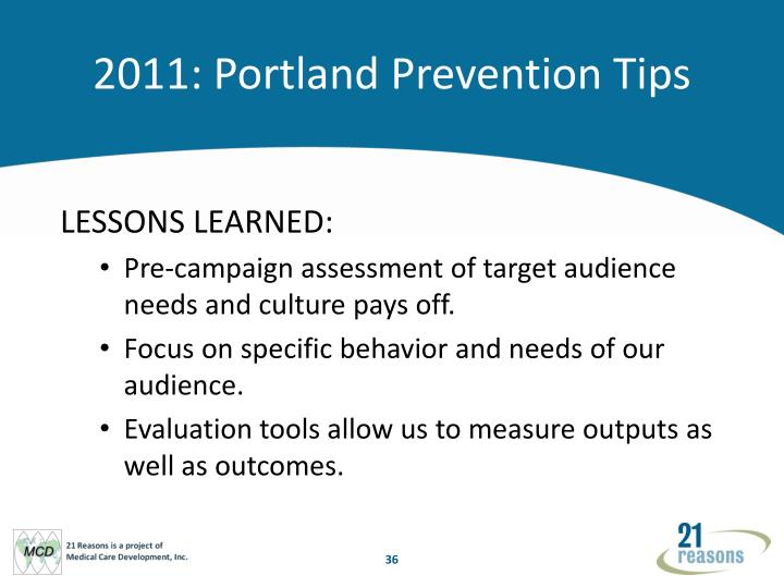 2011: Portland Prevention Tips