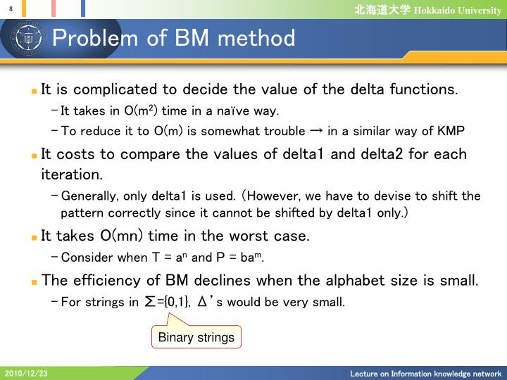 Problem of BM method