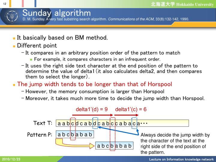 Sunday algorithm