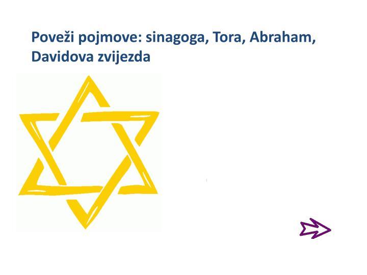 Poveži pojmove: sinagoga, Tora, Abraham,