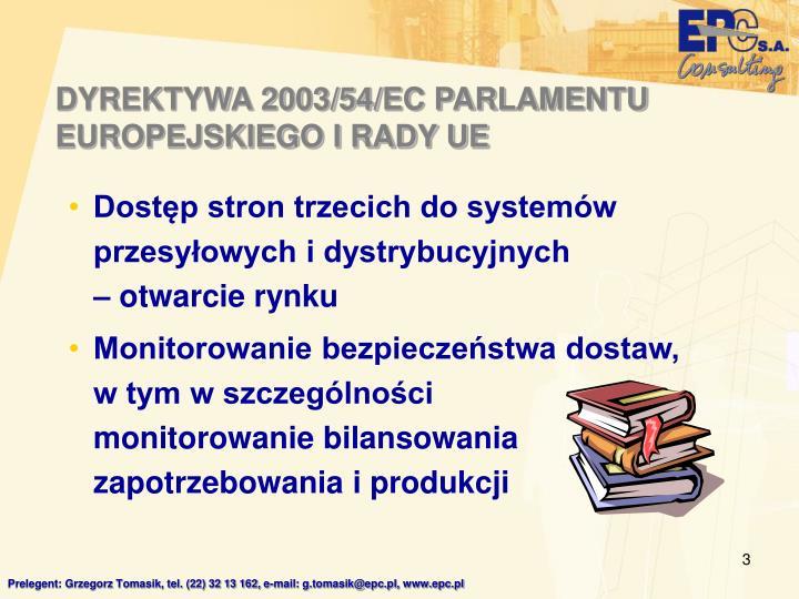 DYREKTYWA 2003/54/EC PARLAMENTU EUROPEJSKIEGO I RADY UE