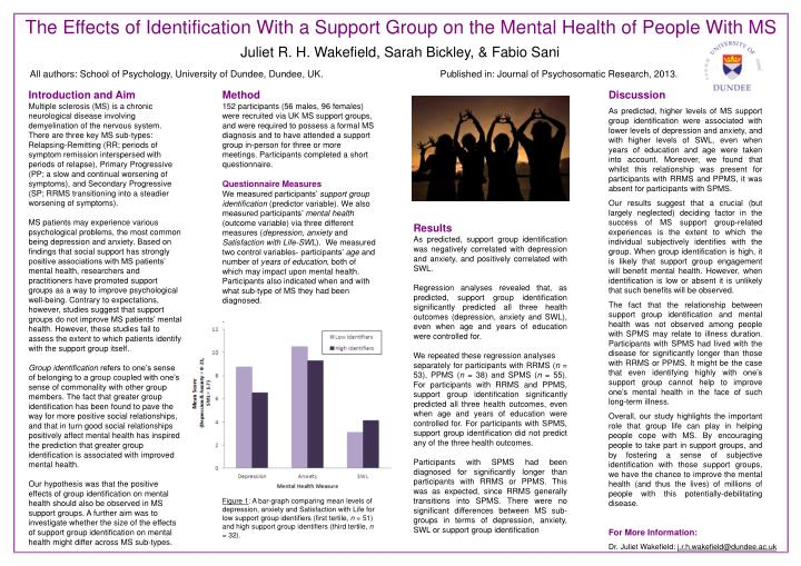 The Effects of Identification With a Support Group on the Mental Health of People With MS