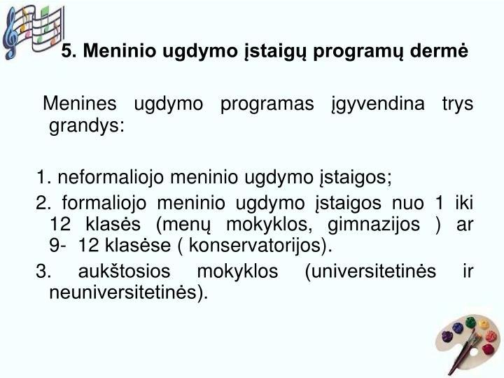 5. Meninio ugdymo įstaigų programų dermė