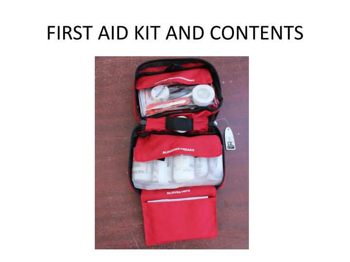 FIRST AID KIT AND CONTENTS