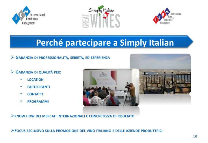 Perché partecipare a Simply Italian