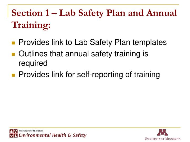 Section 1 lab safety plan and annual training
