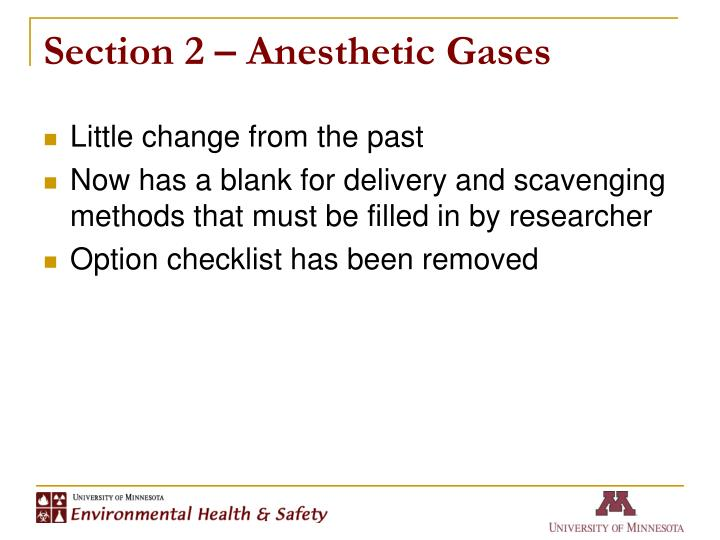 Section 2 anesthetic gases