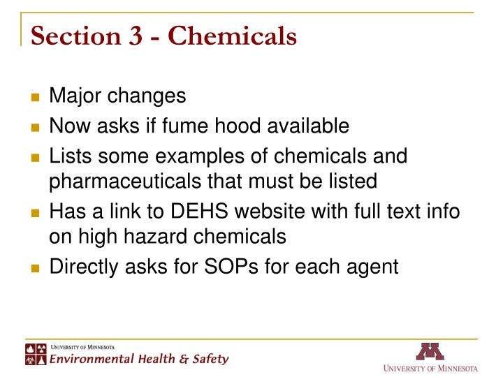 Section 3 - Chemicals