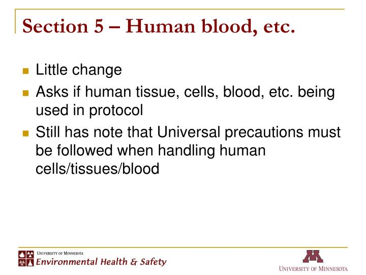 Section 5 – Human blood, etc.