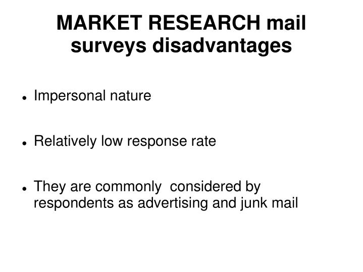 MARKET RESEARCH mail surveys disadvantages