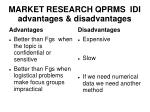market research qprms idi advantages disadvantages