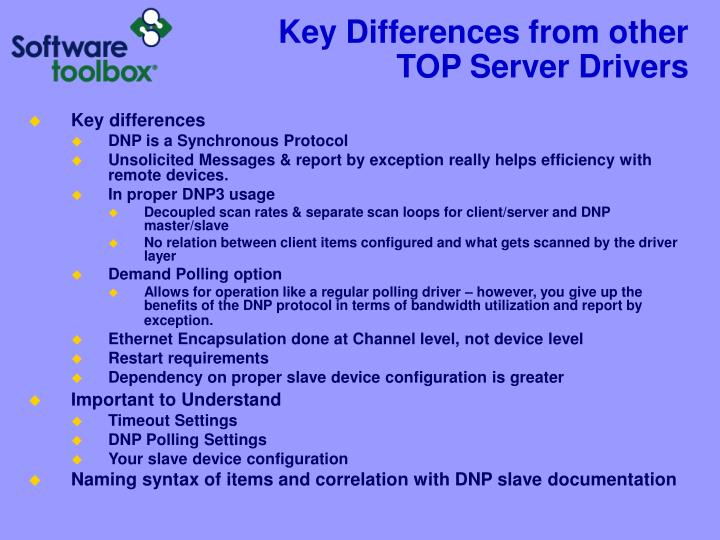 Key Differences from other TOP Server Drivers