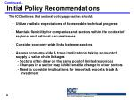 initial policy recommendations