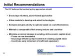 initial recommendations