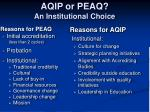 aqip or peaq an institutional choice