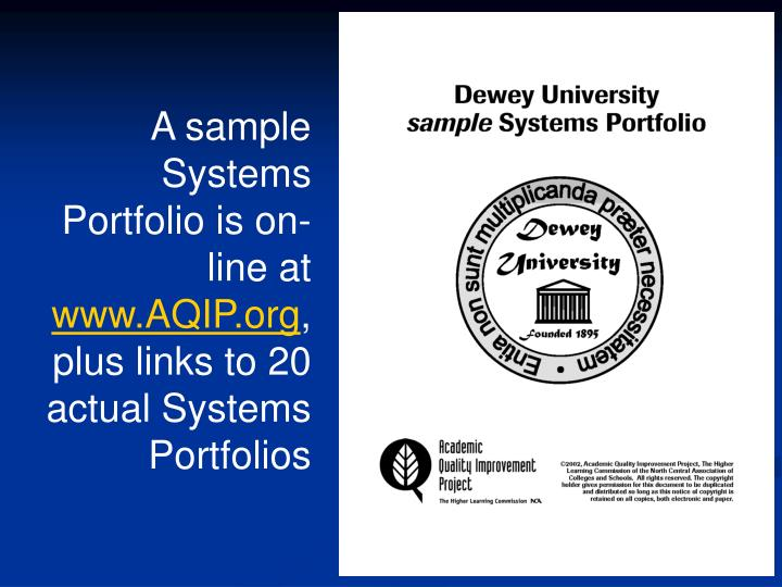 A sample Systems Portfolio is on-line at