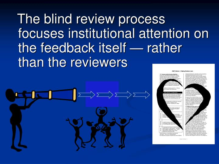 The blind review process focuses institutional attention on the feedback itself — rather than the reviewers