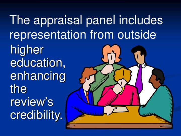 The appraisal panel includes representation from outside