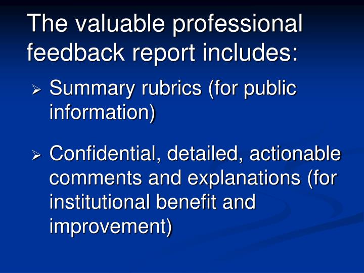 The valuable professional feedback report includes: