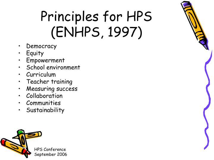 Principles for HPS (ENHPS, 1997)