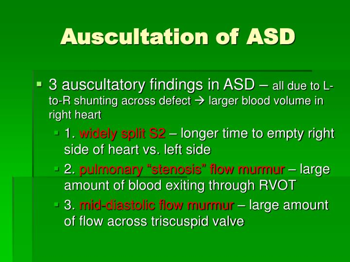 Auscultation of ASD