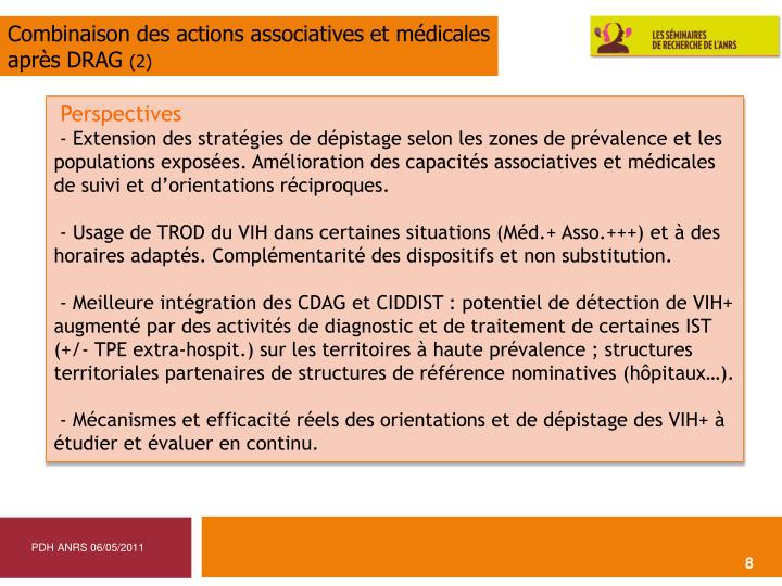 Combinaison des actions associatives et médicales
