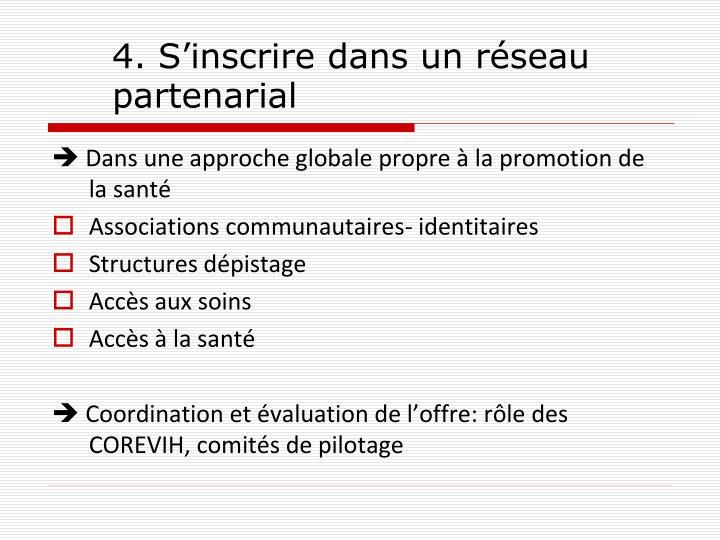 4. S'inscrire dans un réseau partenarial