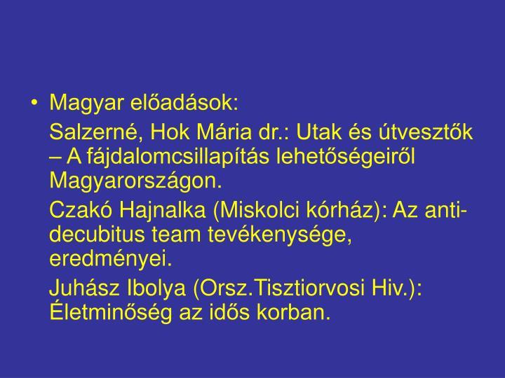 Magyar előadások: