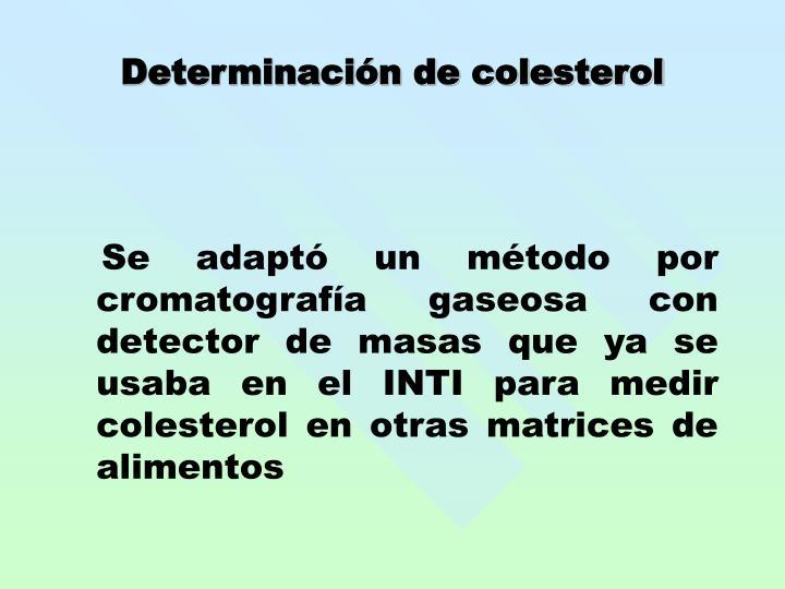 Determinación de colesterol