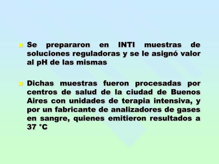 Se prepararon en INTI muestras de soluciones reguladoras y se le asignó valor al pH de las mismas
