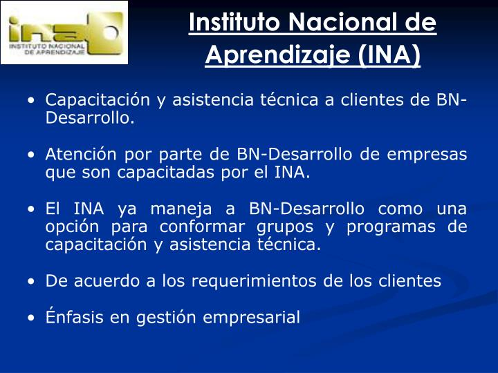 Instituto Nacional de Aprendizaje (INA)