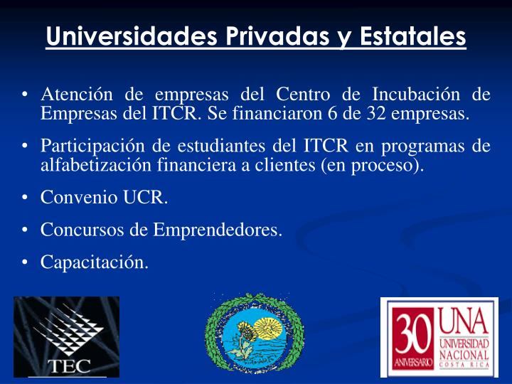 Universidades Privadas y Estatales
