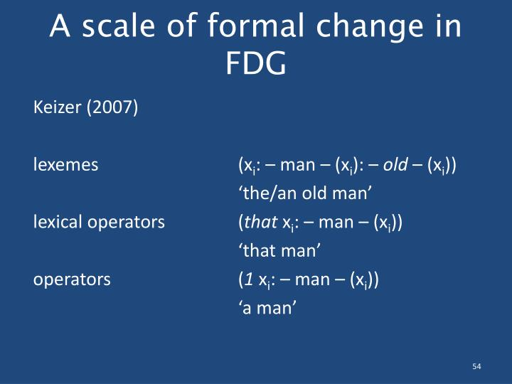 A scale of formal change in FDG