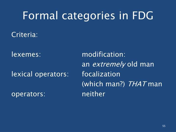 Formal categories in FDG