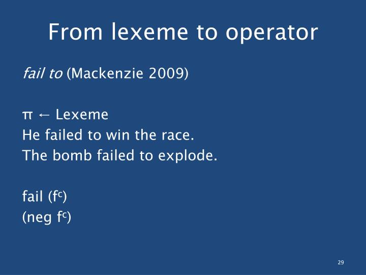 From lexeme to operator