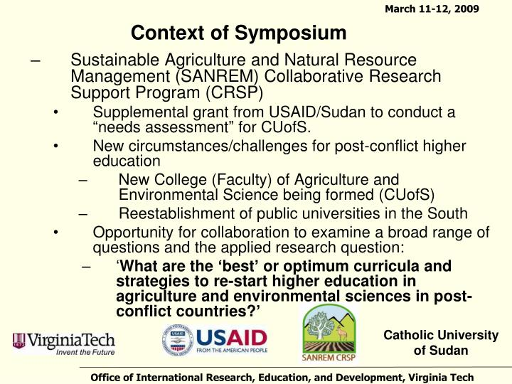 Context of symposium