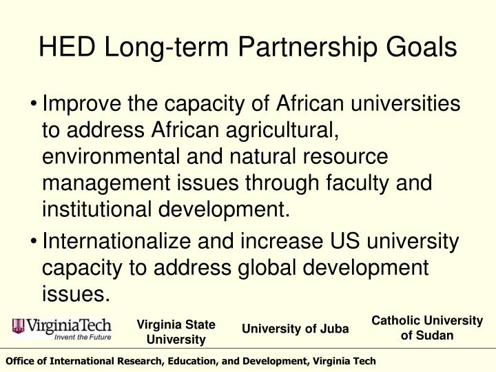 HED Long-term Partnership Goals
