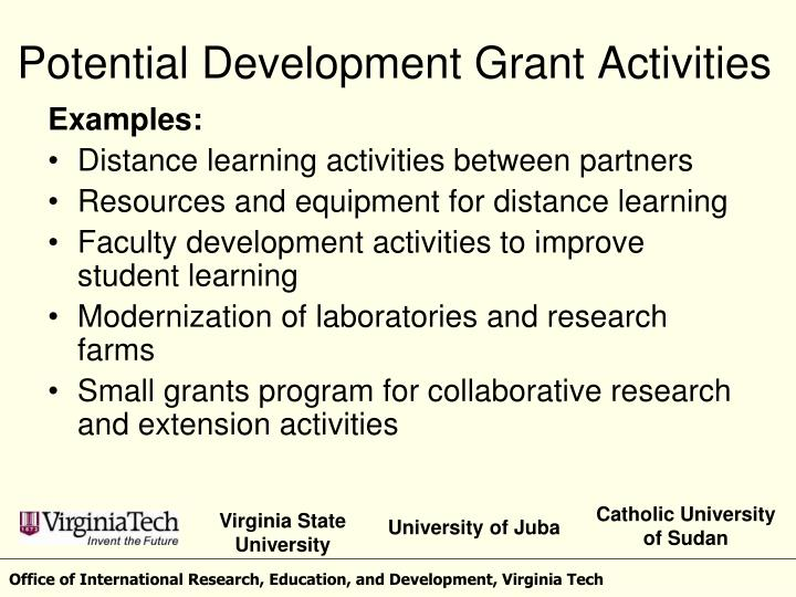 Potential Development Grant Activities