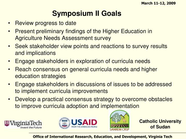 Symposium ii goals