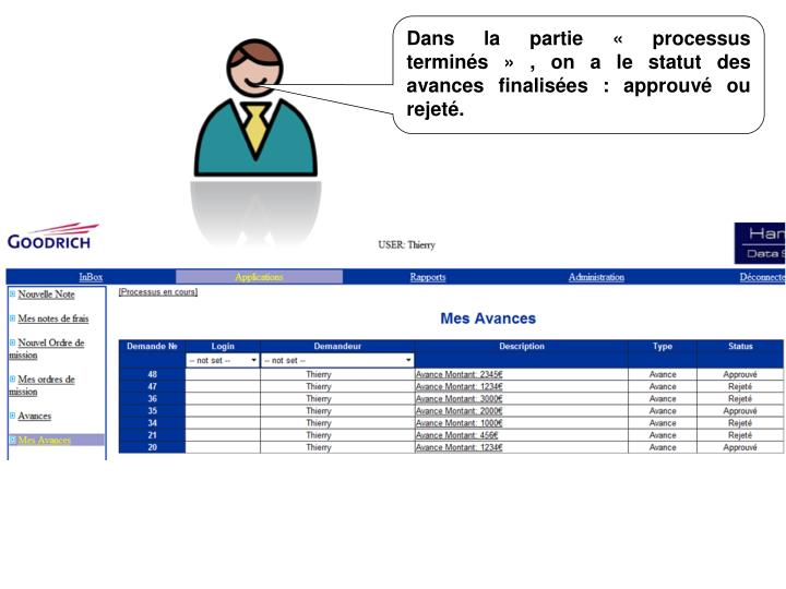 Dans la partie processus termins , on a le statut des avances finalises : approuv ou rejet.